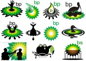 BP Logo parodies with oil