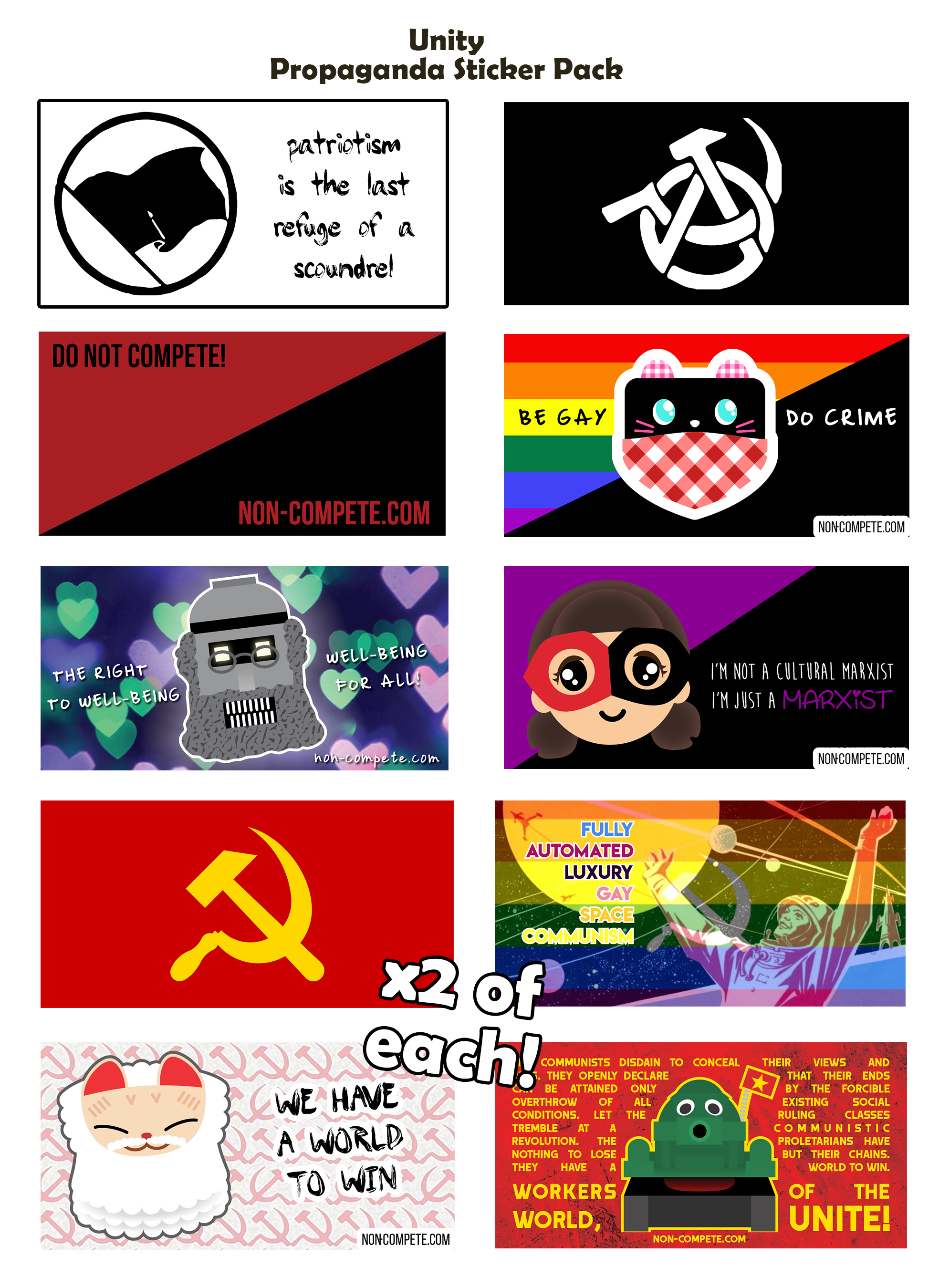 Propaganda Sticker Packs (x20) (Choose from ML/Anarchist/Unity)